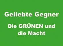 """Grüne Farbfläche mit weisser Schrift """"Geliebte Gegner - Die Grünen und die Macht"""""""