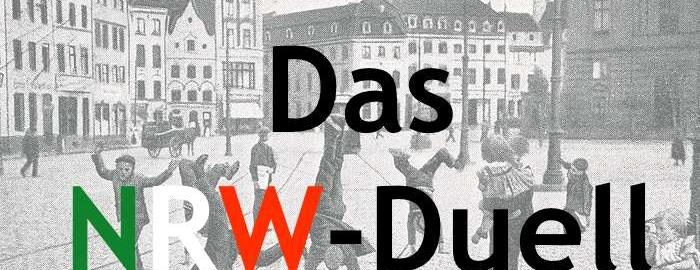 """Collage aus dem Titel """"NRW-DUELL"""" und einer Postkarte mit Düsseldorfer Radschlägern um 1900"""