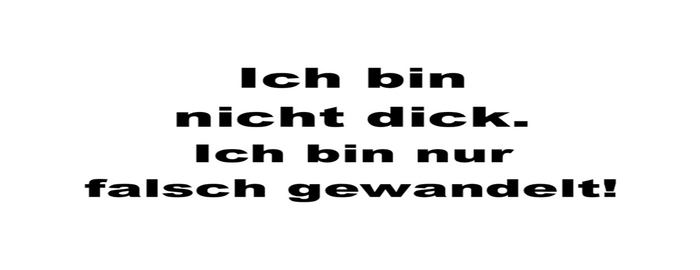 """Schriftzug mit dicken Buchstaben: """"Ich bin nicht dick. Ich bin nur falsch gewandelt!"""""""
