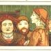 Eine Farb-Abbildung aus dem Jahr 1889, die den Rattenfänger von Hameln umringt von den Ratsherren zeigt